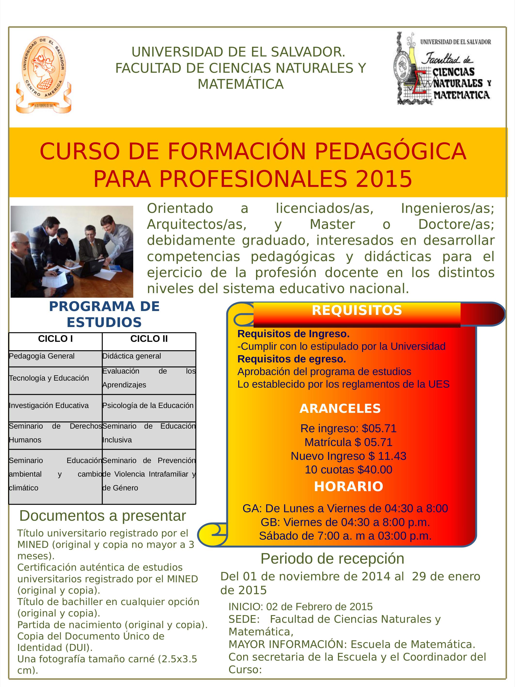 Curso de Formación Pedagógica para Profesionales 2015